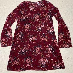 Full Tilt Girl's long sleeve, maroon dress, size m